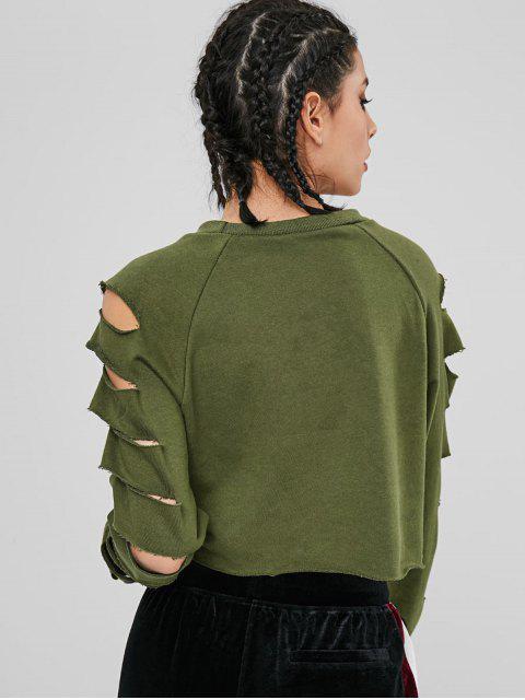 Sweat-shirt Court Découpé à Manches Raglan - Vert Armée  L Mobile