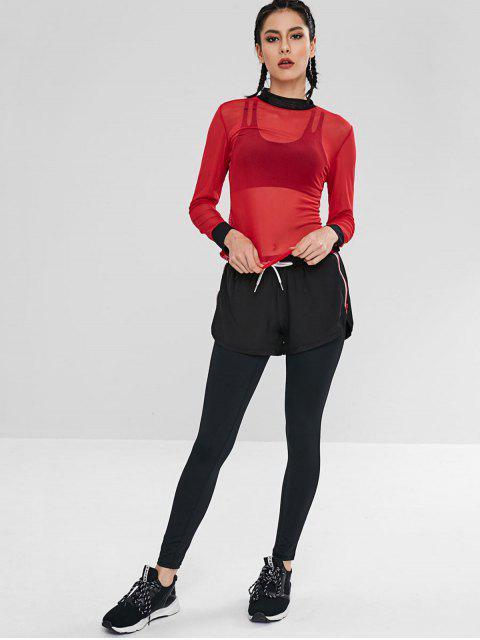 T-shirt en Maille Transparente en Blocs de Couleurs - Rouge L Mobile