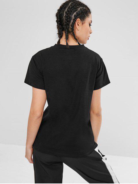 Camiseta deportiva de manga corta - Negro L Mobile