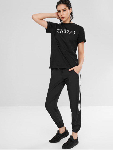 Kurzarm-T-Shirt mit Buchstaben - Schwarz L Mobile