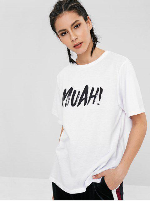 T-shirt Lettre à Manches Courtes - Blanc M Mobile