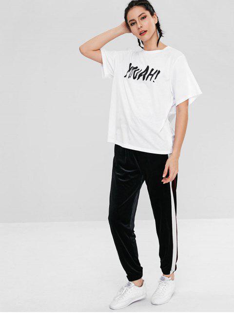 T-shirt Lettre à Manches Courtes - Blanc L Mobile