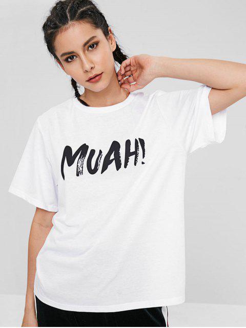 Camiseta de manga corta de la letra - Blanco XL Mobile