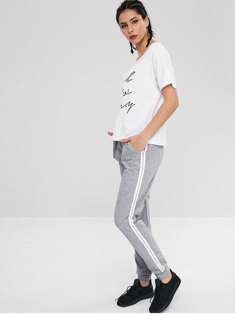 T-shirt Ample Lettre à Manches Courtes - Blanc XL Mobile