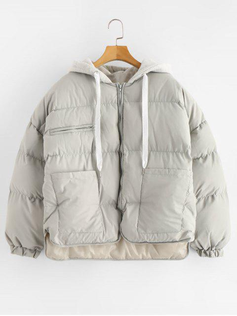 unique Pockets Hooded Puffer Jacket - GRAY ONE SIZE Mobile