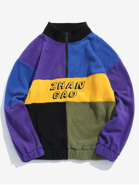 buy ZAFUL Color Block Half Zip Pullover Flocking Sweatshirt - MULTI-A 2XL Mobile