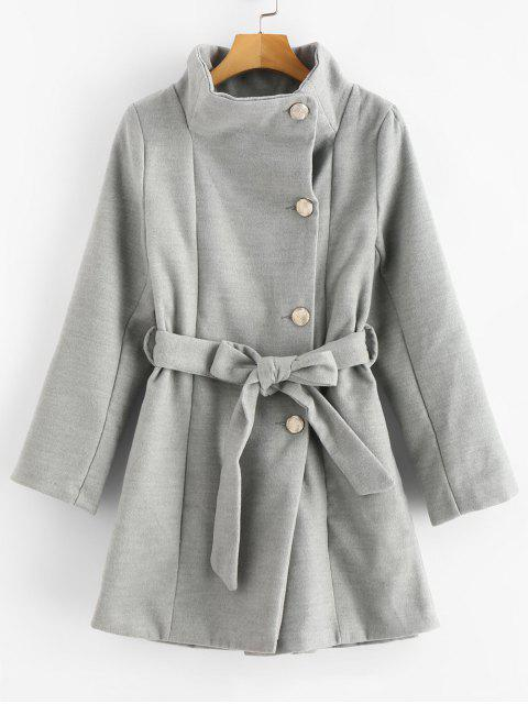 women Belted Wrap Collar Faux Wool Winter Coat - GRAY CLOUD XS Mobile