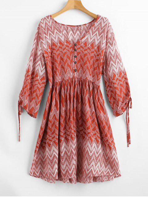 lady Plunge Zigzag Print Peasant Dress - RED M Mobile