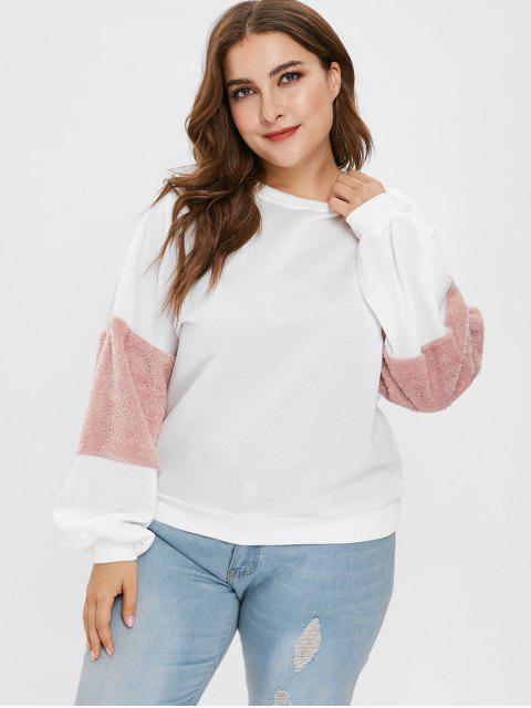 Sweat-shirt en molleton de couleur plus grande à manches fuzzy - Blanc 1X Mobile