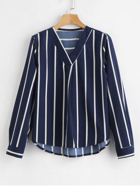 online V Neck High Low Striped Blouse - NAVY BLUE S Mobile
