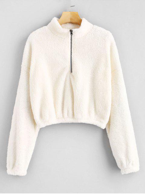 buy Zipped Fleece Cropped Sweatshirt - WHITE S Mobile