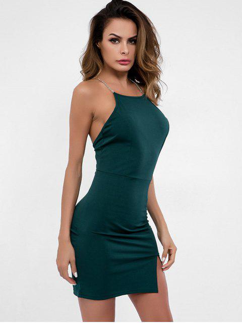buy Backless Slit Cami Dress - DARK GREEN S Mobile