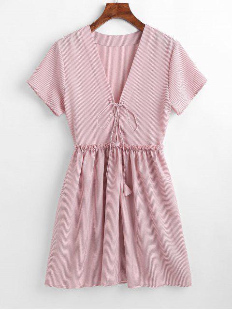 Gestreiftes Kleid mit Schnürung - Khaki Rose M Mobile