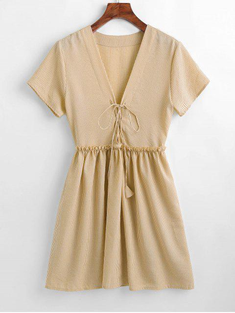 Gestreiftes Kleid mit Schnürung - Aprikose XL  Mobile