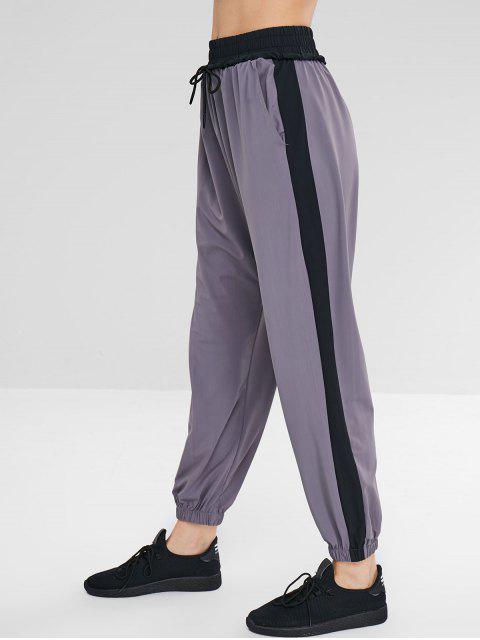 Pantalon de Sport en Blocs de Couleurs à Cordon - Gris M Mobile