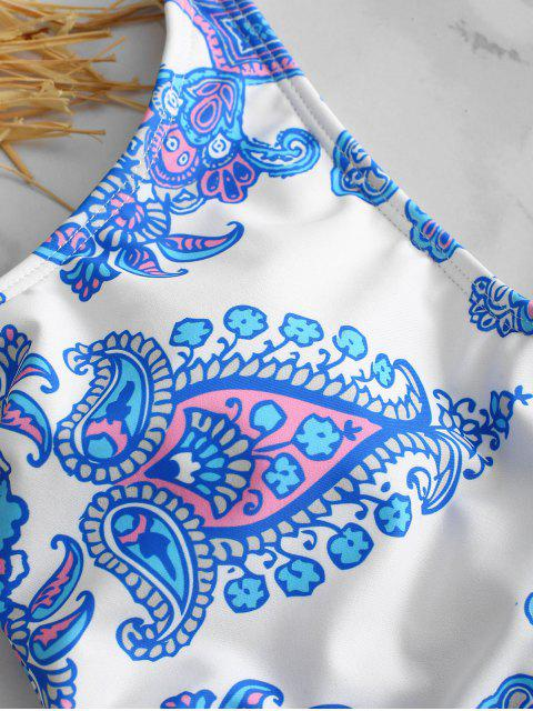 ZAFUL Retro impreso traje de baño de una pieza - Azul Cristal S Mobile