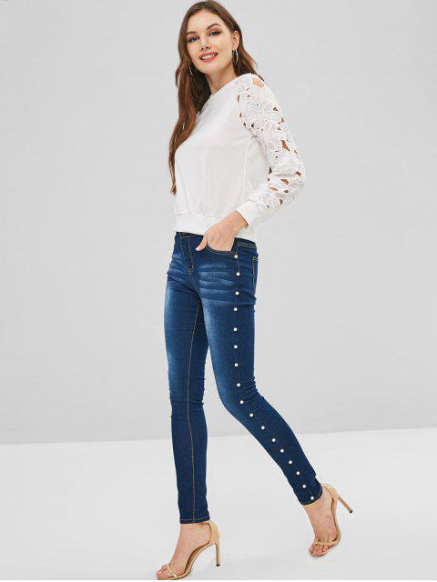 Imitación perla adornado jeans ajustados - Azul Oscuro de Denim S Mobile