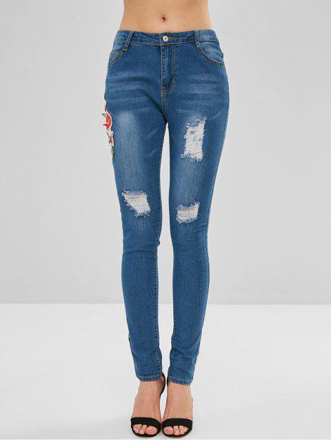 Apliques de flores de jeans desgastados - Azul Denim S Mobile
