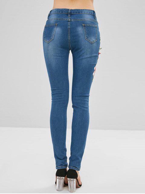Apliques de flores de jeans desgastados - Azul Denim XS Mobile