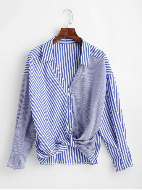 womens Striped High Low Twisted Blouse - OCEAN BLUE XL Mobile