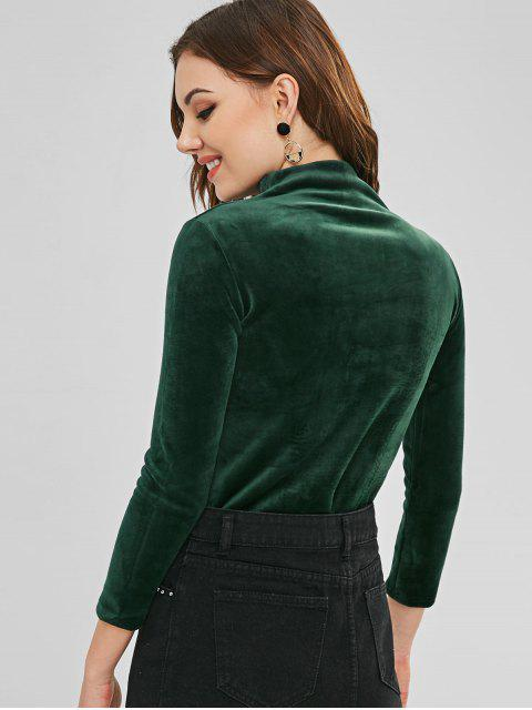 ladies Velvet Letter Embroidery Sweatshirt - DEEP GREEN ONE SIZE Mobile