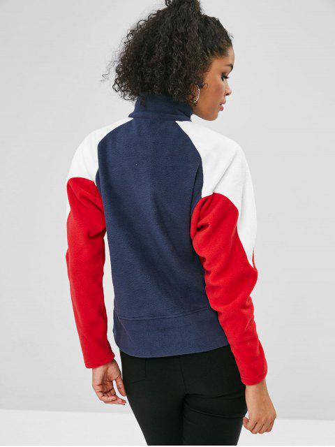 ZAFUL Halber Reißverschluss Farbblock Taschen Sweatshirt - Multi Eine Größe Mobile