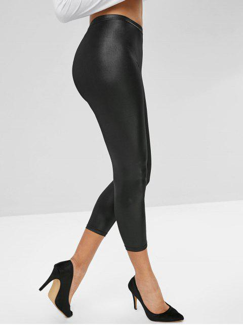 sale PU Skinny Crop Leggings - BLACK XL Mobile