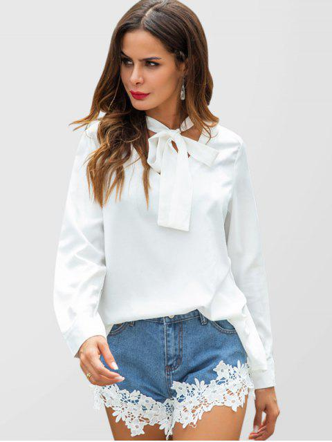 chic Bow Tie Collar Blouse - WHITE L Mobile