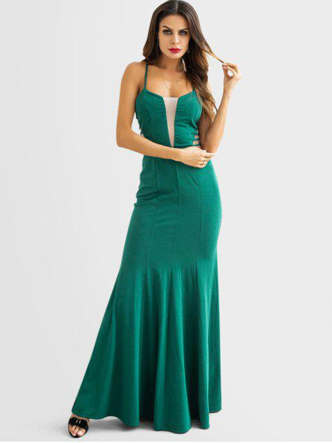 chic Strappy Tulle Panel Mermaid Dress - GREEN M Mobile