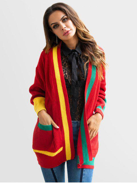 Color block cardigan abierto - Rojo M Mobile