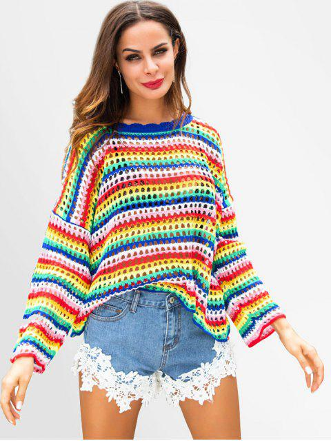 affordable Colorful Openwork Oversized Sweater - MULTI L Mobile