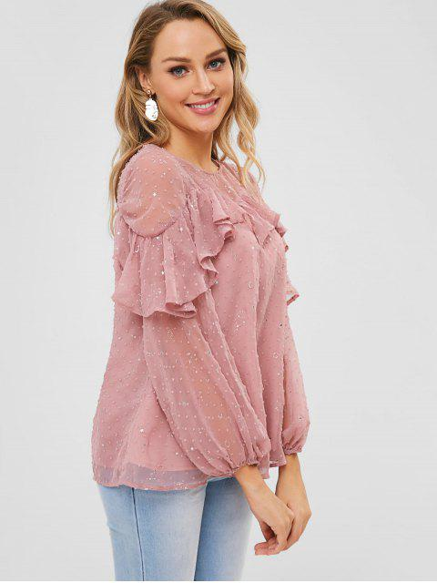 shops ZAFUL Ruffles Embellished Stars Blouse - PINK XL Mobile