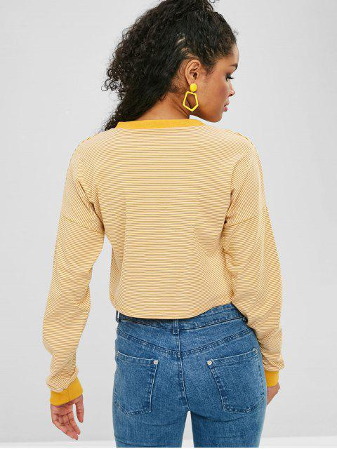 fashion Drop Shoulder Crop Striped Sweatshirt - GOLDENROD L Mobile
