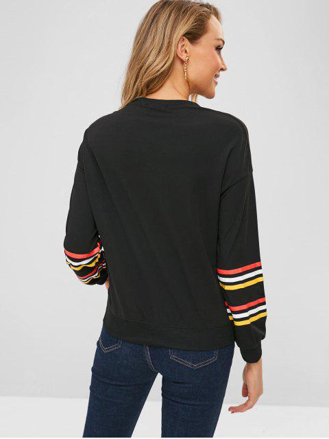 trendy Stripe Pattern Sleeve Sweatshirt - BLACK L Mobile