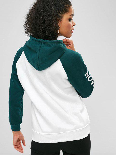 fashion Two Tone Raglan Sleeve Fleece Graphic Hoodie - MULTI-A L Mobile