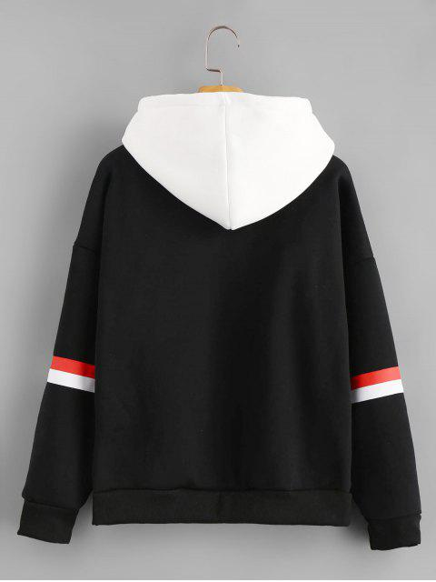 fancy Letter Embroidered Contrast Hoodie - BLACK XL Mobile