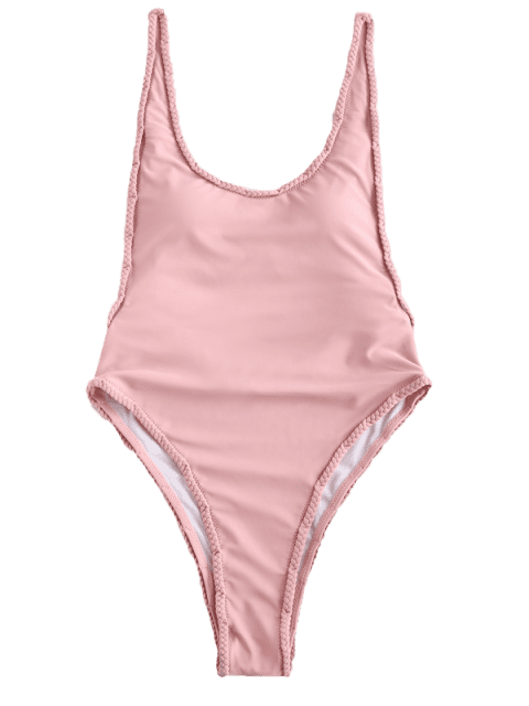 buy ZAFUL Braided High Cut Swimsuit - PIG PINK L Mobile
