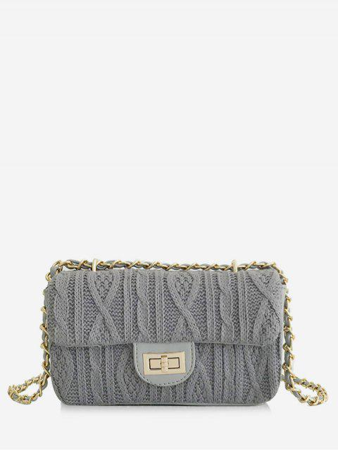 affordable Knitting Hasp Design Link Chain Crossbody Bag - LIGHT SLATE GRAY  Mobile