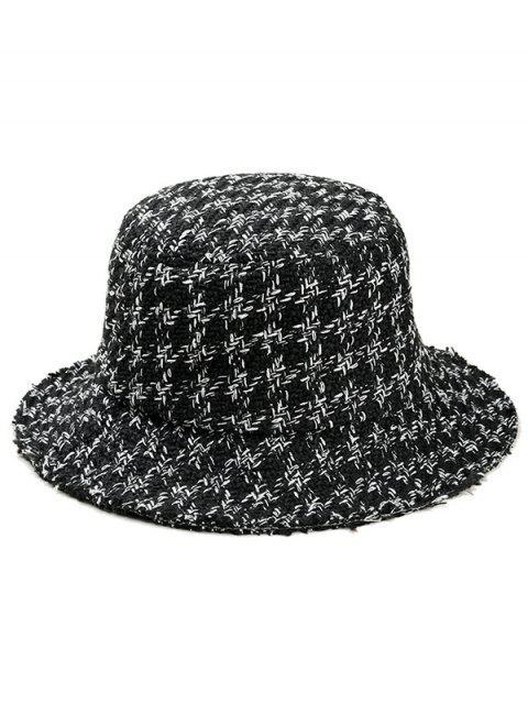 womens Vintage Houndstooth Pattern Bucket Hat - BLACK  Mobile
