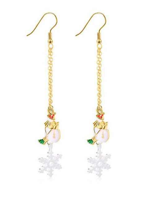 new Christmas Snowflake Printed Drop Earrings - GOLD  Mobile