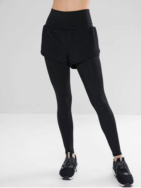 buy High Waisted Overlay Leggings - BLACK L Mobile