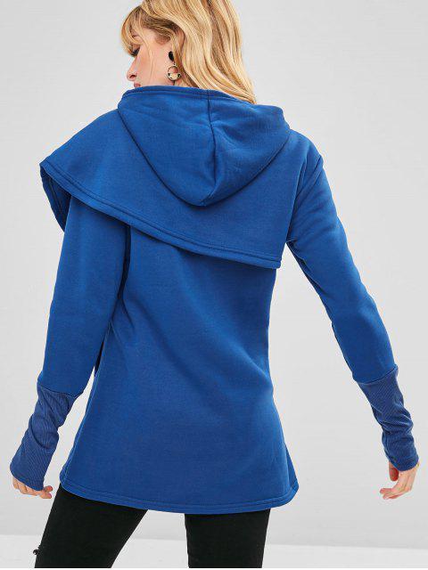 Sweat à Capuche Enveloppé Lettre Graphique Brodée - Bleu M Mobile