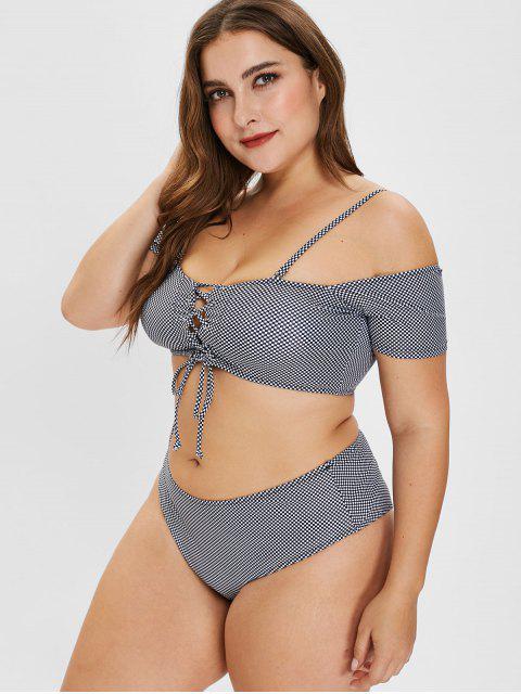 women's ZAFUL Checkered Lace-up Plus Size Bikini Set - MULTI-A 3X Mobile