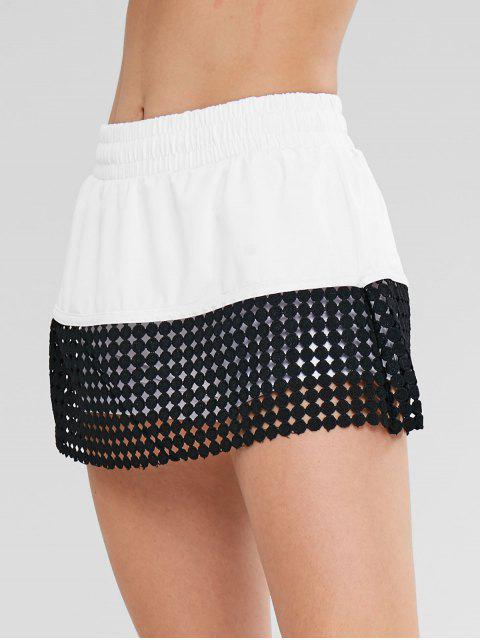 Häkeln Sie Color Block Röcke Shorts - Weiß M Mobile