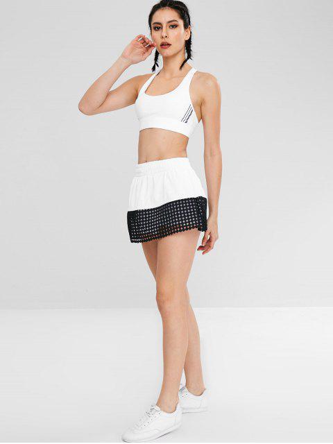 Häkeln Sie Color Block Röcke Shorts - Weiß L Mobile