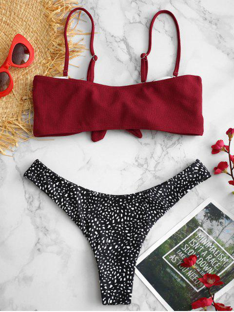 ZAFUL Ensemble de Bikini Côtelé en Tricot en Blocs de Couleurs - Rouge Vineux L Mobile
