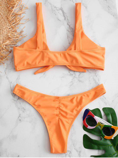 Bikini de Tanga Anudado con Pliegues - Mango Naranja M Mobile