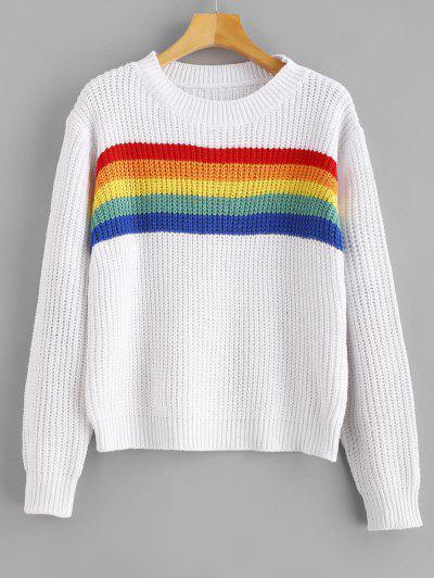 zaful Rainbow Striped Graphic Chunky Sweater