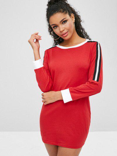 Vestido Curto De Manga Comprida Com Contraste - Vermelho Xl