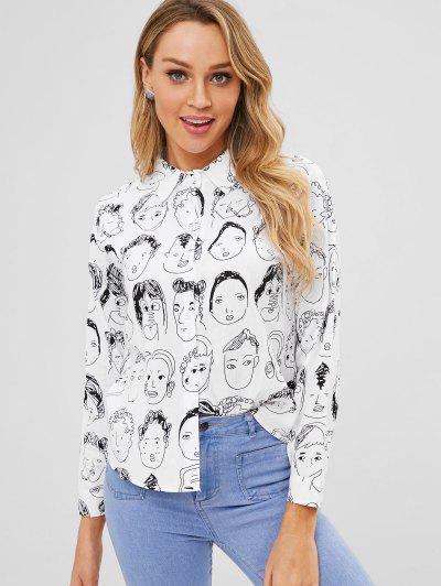 All Over Print Shirt - White M